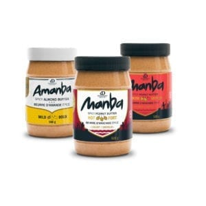 3 jars of Manba or Amanba - Spicy peanut and almond butter