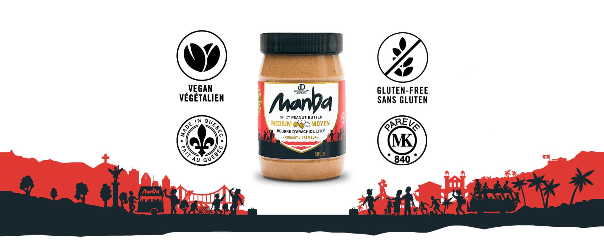 Manba Banner - Spicy peanut Jar with Vegan - Gluten free - Kosher - Made in canada icon